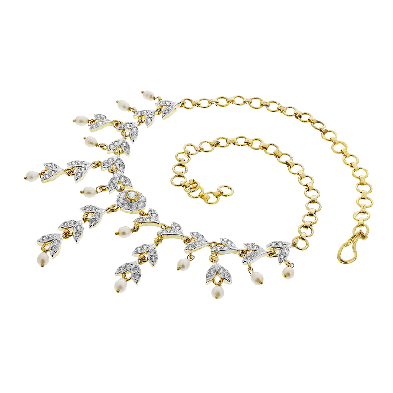 Gold Plated White Pearls and Glass Stones Earrings and link Chain Necklace Set