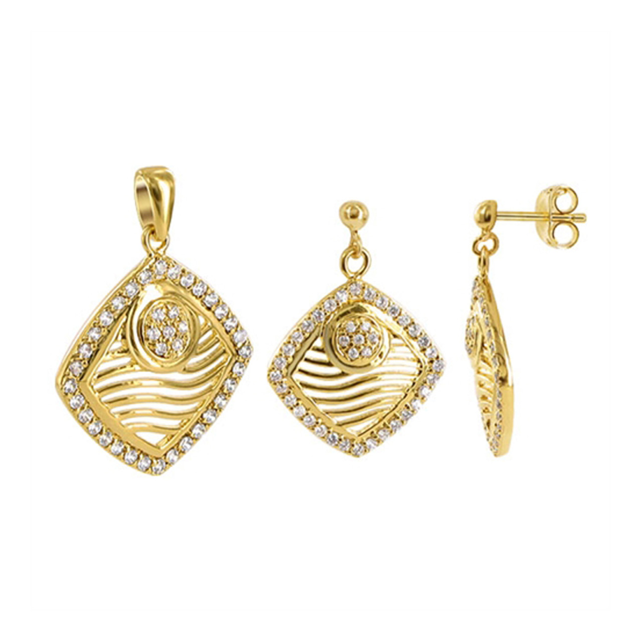 Gold Plated Clear CZ Earrings and Pendant Jewelry Set