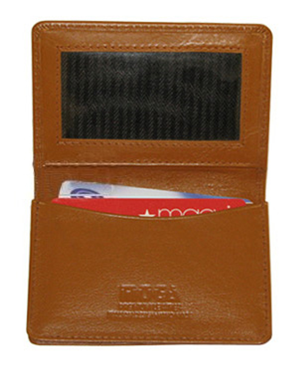 Genuine New Leather Credit Card Holder ID Window Tan Wallet