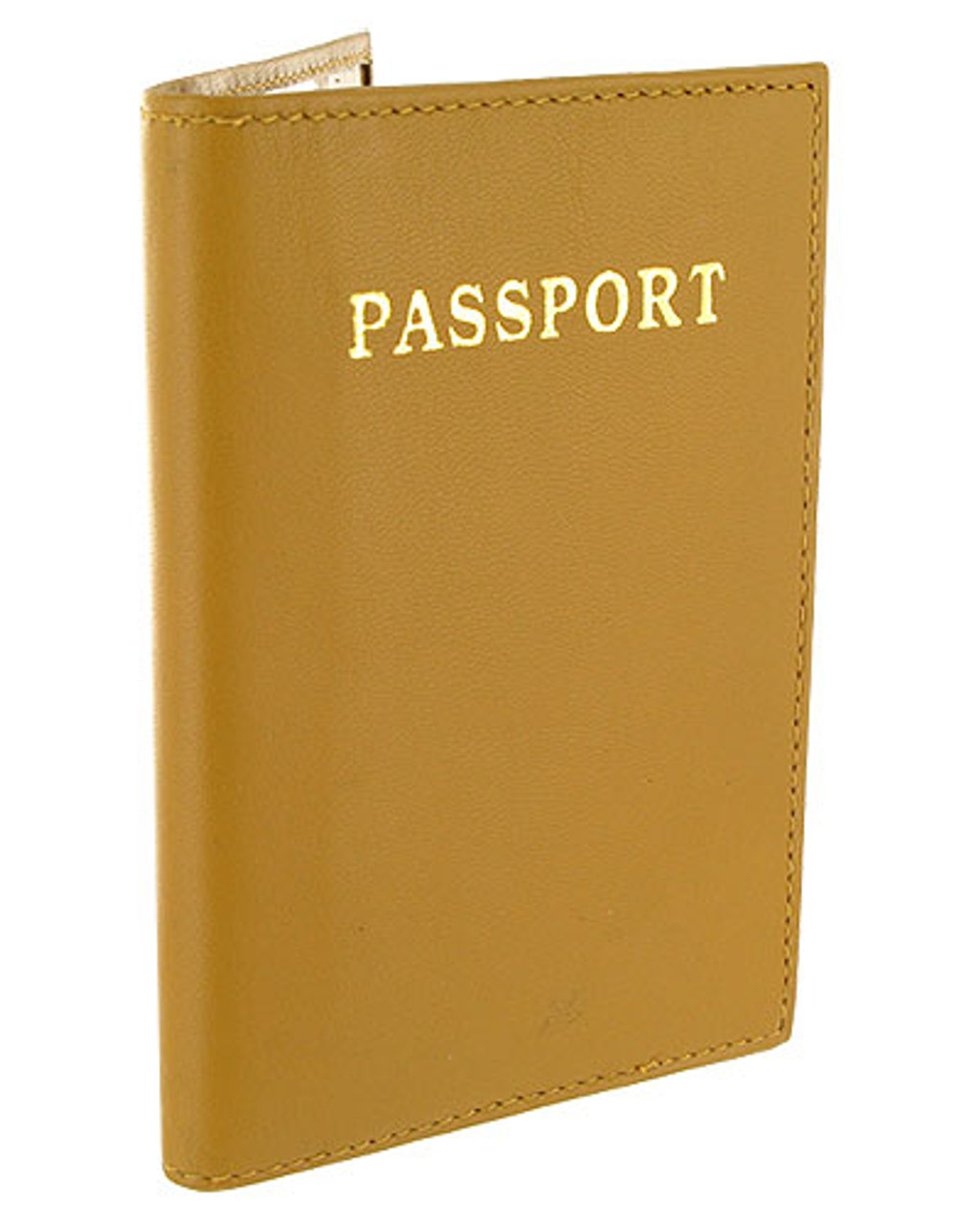 Tan Leather Cover Passport Holder Travel 5.5 x 3.75 inch Wallet