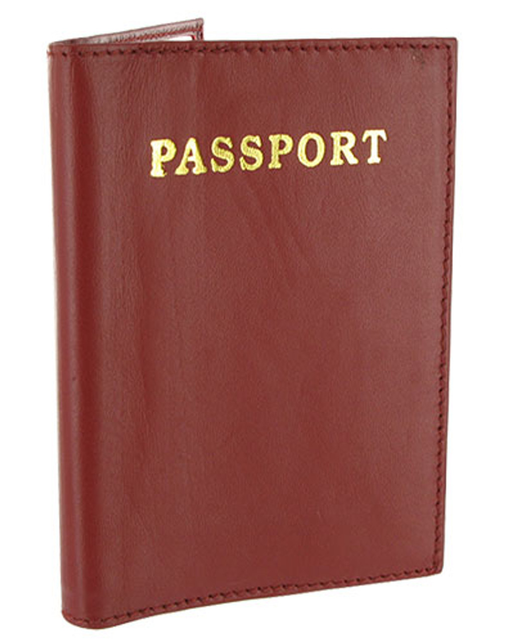 Burgundy Leather Cover Passport Holder Travel 5.5 x 3.75 inch Wallet