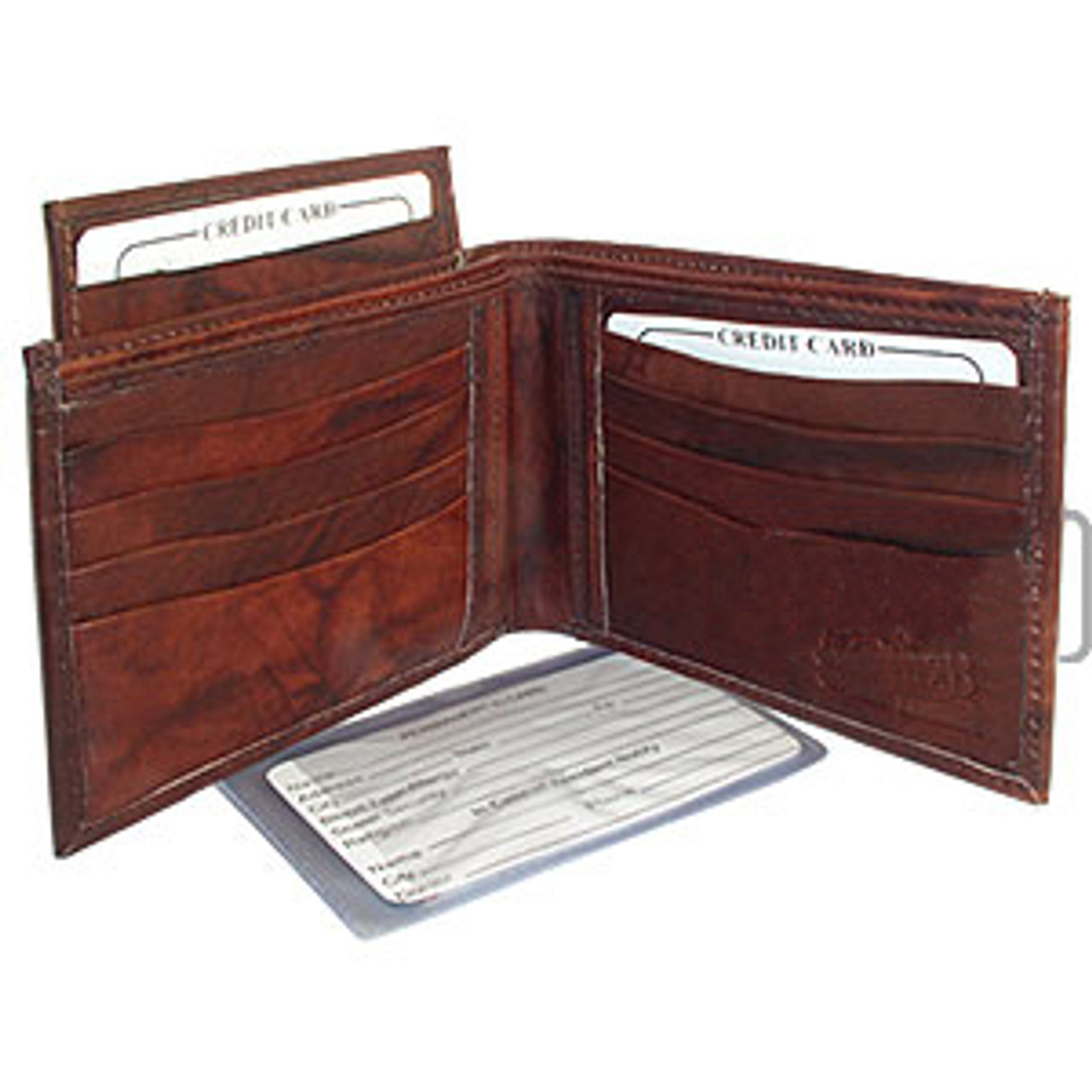 Mens BiFold Pull-out Credit Card Holder Brown Wallet