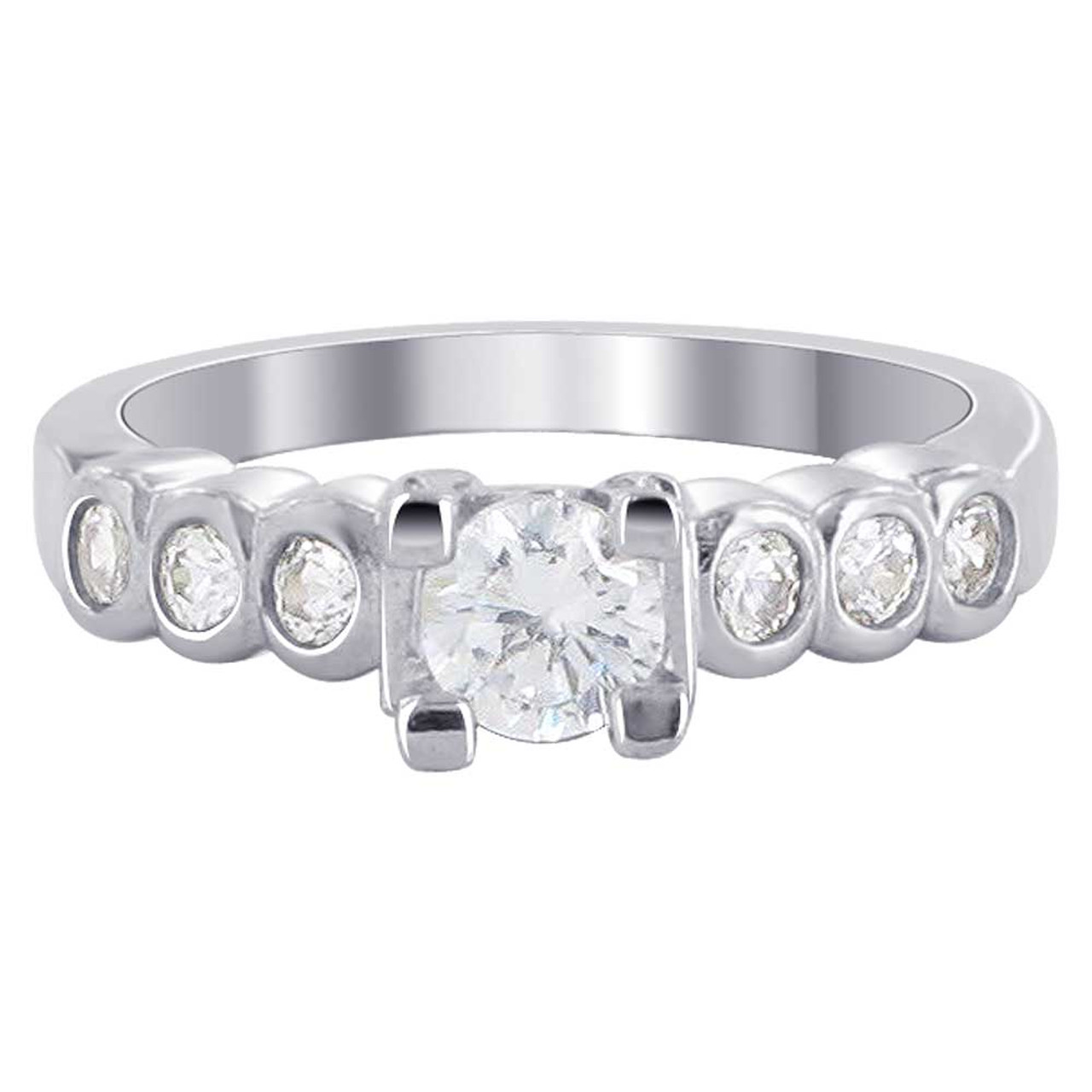 Sterling Silver CZ Engagement Ring Wedding Band Set Size 6.5