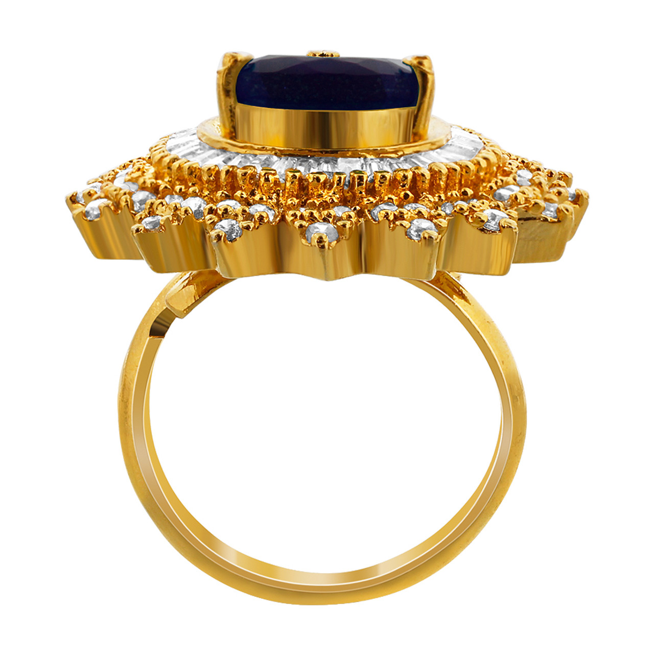 Gold Plated Simulated Stones Fashion Ring