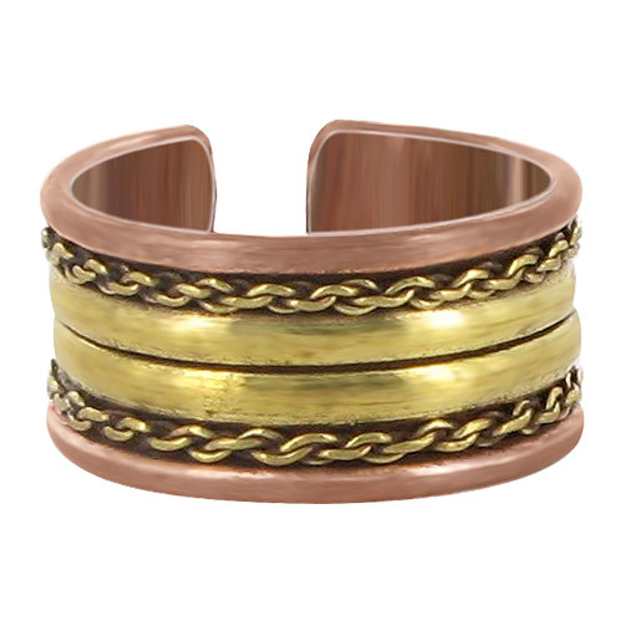 11mm wide Two Tone Finish Double Stripes Adjustable Ring