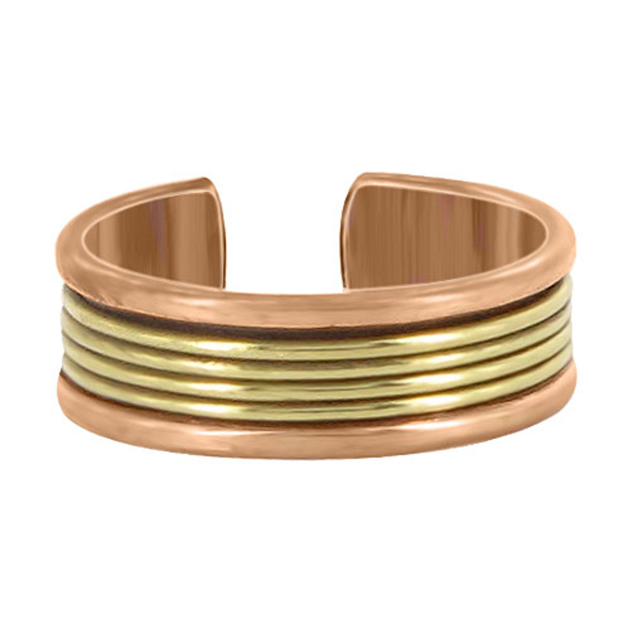 8mm wide Two Tone Finish Adjustable Fashion Ring