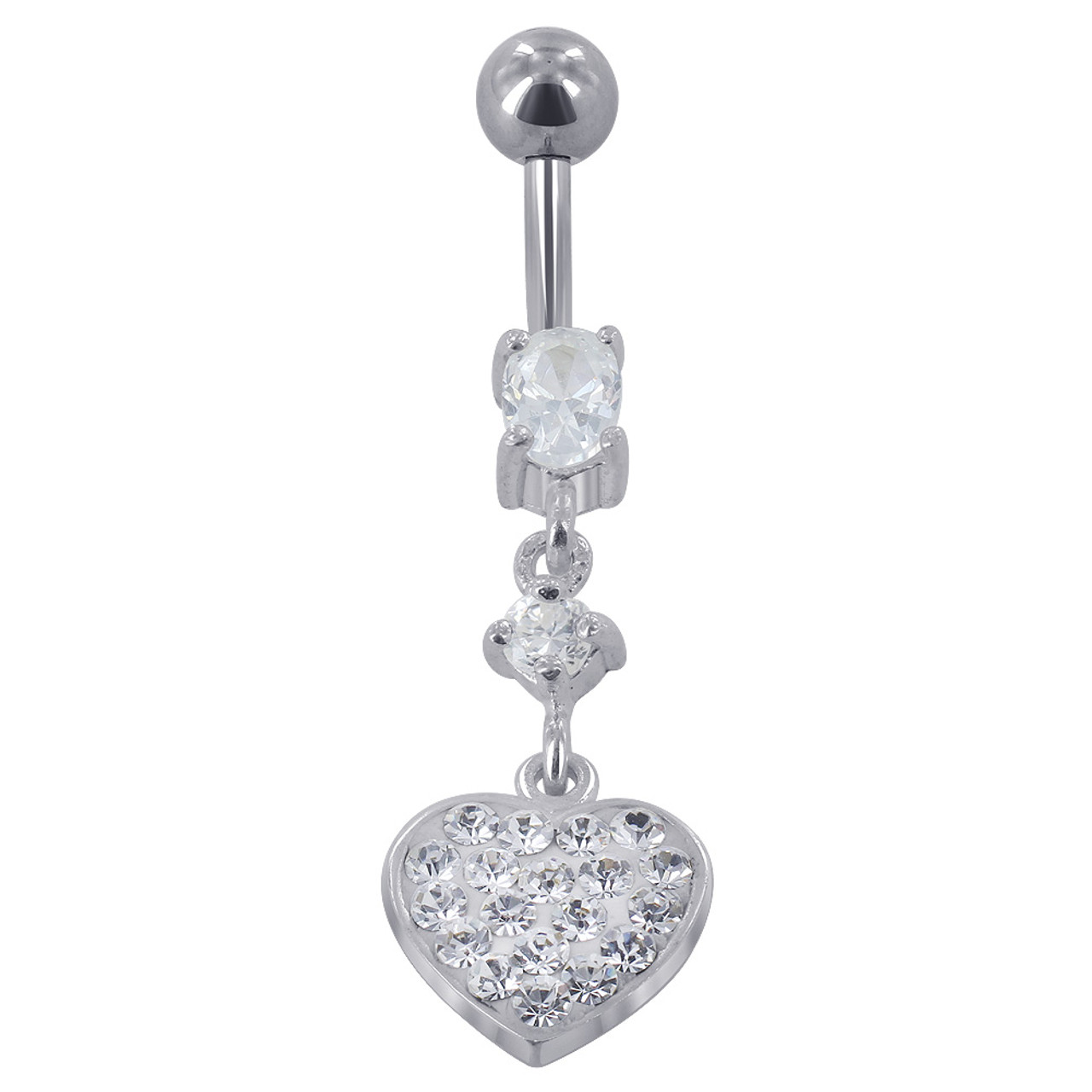 Sterling Silver with Stainless Steel CZ Heart Barbell