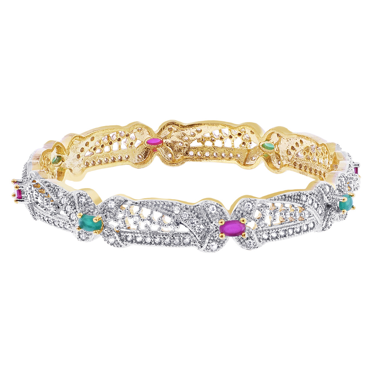 Gold Plated Indian Bollywood CZ Multicolor Bangle Bracelets
