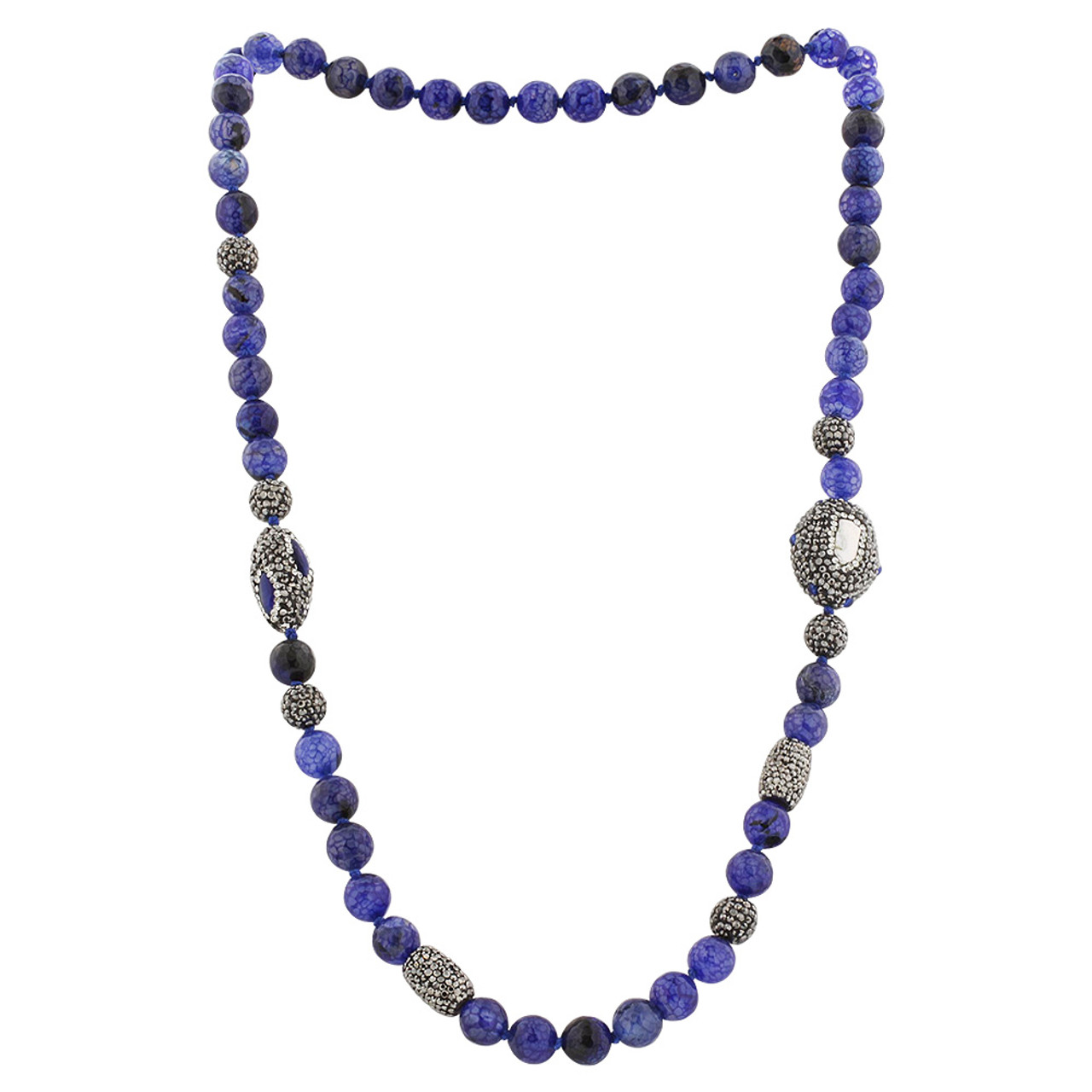 Blue Glass Beads and Freshwater Pearl Necklace