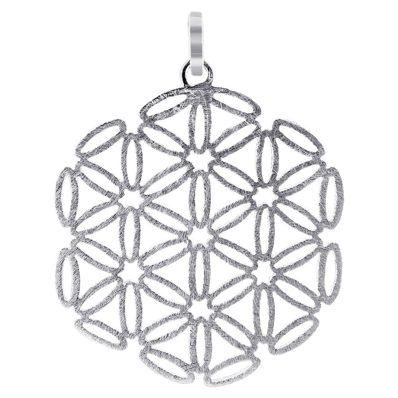 925 Silver Scratched Snowflake Design Pendant
