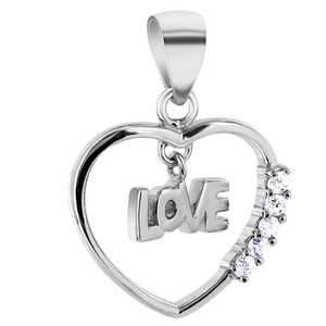 Cubic Zirconia Heart with Love Pendant