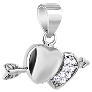 Cubic Zirconia Heart with Arrow Pendant