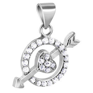 CZ Circle with Heart and Arrow Pendant