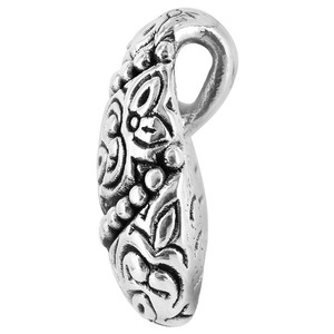 Silver Detailed Floral Design on Rounded Teardrop Pendant