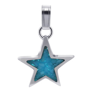 925 Sterling Silver Reconstituted Turquoise 14mm x 18mm Star Southwestern Style Pendant