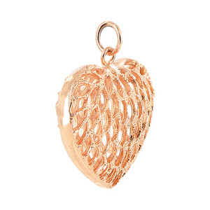 "Copper Finish 1.2 x 1.3"" Heart Shape Intricate Dangle Pendant"