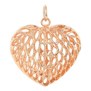 Copper Rose 1.2 x 1.3 inch Heart Shape Intricate Polish Finished Dangle Pendant
