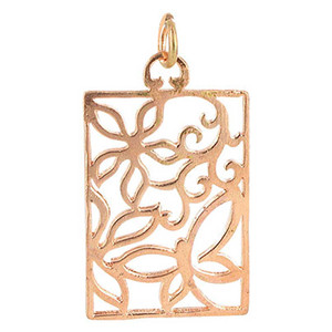Copper Finish 0.9 x 1.2 inch Square Shaped Intricate Polish Finished Dangle Pendant