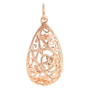 Copper Rose 0.6 x 1 inch Teardrop Shaped Intricate Polish Finished Dangle Pendant