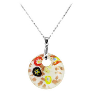 Stainless Steel Bail with 1.5 inch Round White Color Designed Glass 6mm Thick Pendant