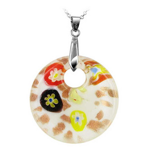 "Stainless Steel Bail with 1.5"" White Color Glass Pendant"