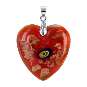 """Stainless Steel Bail with 1.3 x 1.2"""" Red Color Heart Pendant"""