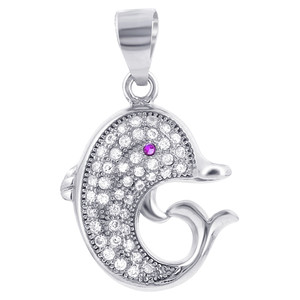 Sterling Silver Cubic Zirconia Dolphin Pendant