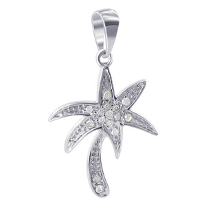 10K White Gold Diamond Palm Tree Pendant