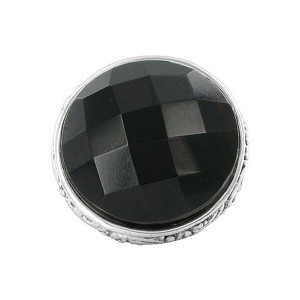 925 Sterling Silver Multifaceted Simulated Onyx Round Ring