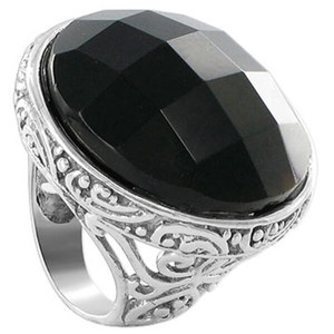 925 Sterling Silver Multifaceted Simulated Black Onyx 1.1 inch Round Ring