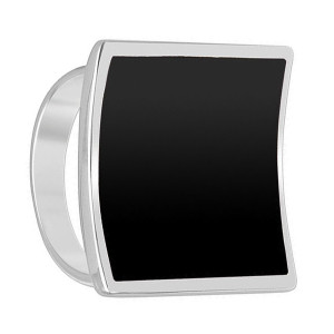 925 Sterling Silver Black Onyx Gemstone 19mm Square Ring