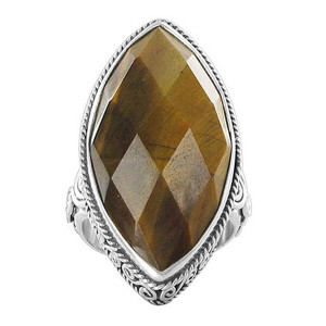 925 Silver Multi Faceted Tiger Eye Marquise Cut Ring