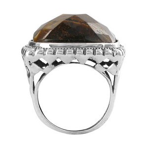 925 Silver Multifaceted Simulated Tiger Eye Ring