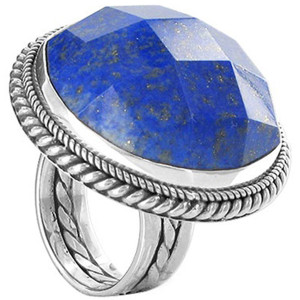 925 Sterling Silver Simulated Blue Lapis Lazuli Round Ring