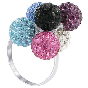 925 Sterling Silver Multicolored 8mm Round Ring