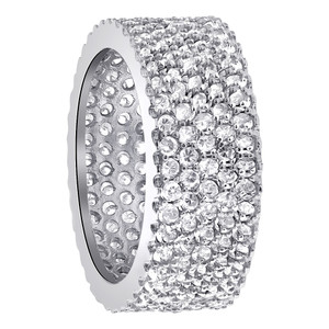 925 Sterling Silver Cubic Zirconia Micro Pave Setting Eternity 9mm Band