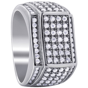 Men's 925 Silver CZ with Micro Pave Set accents Ring