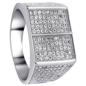925 Sterling Silver Round Cubic Zirconia with Micro Pave Set accents Ring