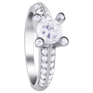 Sterling Silver Ring Clear Cubic Zirconia