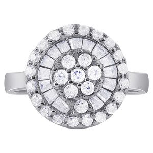 925 Silver Princess Cut and Round Clear Cubic Zirconia Ring