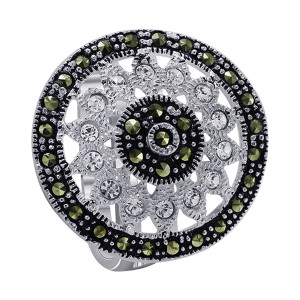 925 Sterling Silver Cubic Zirconia with Studded Marcasite Floral Design Ring