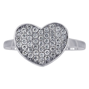 925 Silver Micro Pave Set Round CZ Heart Ring