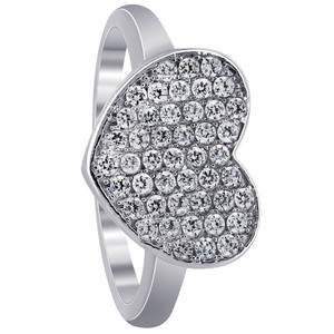 925 Sterling Silver Micro Pave Set Round Cubic Zirconia Heart Ring