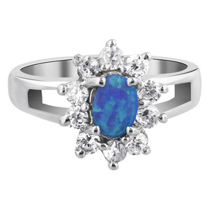 925 Silver Opal October Birthstone with CZ Ring