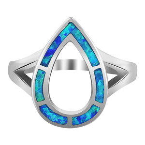 925 Silver Opal October Birthstone Teardrop Shape Ring