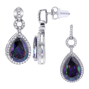 925 Sterling Silver Teardrop Shape Stone with Cubic Zirconia Accents Earrings Pendant Set
