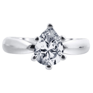 Cubic Zirconia Solitaire Pear Shape Ring