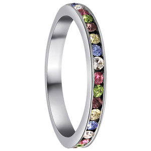 925 Sterling Silver Multi Color Cubic Zirconia Channel Set 3mm Eternity Band