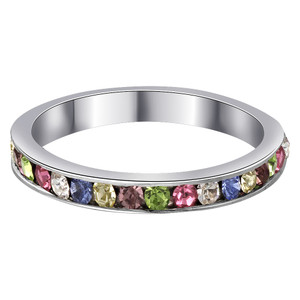 Multicolor Cubic Zirconia Channel Set Eternity Band