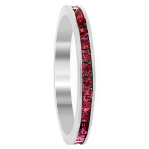 925 Sterling Silver Dark Pink ice Cubic Zirconia Channel Set 3mm Eternity Band